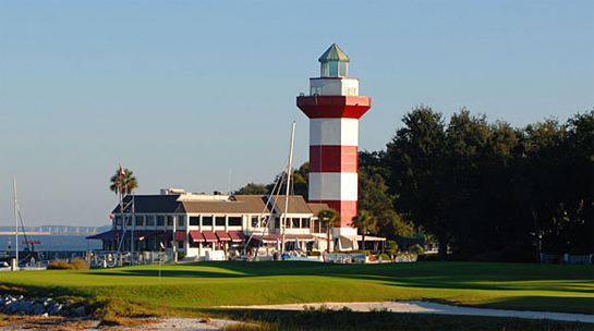 Image from the Harbor Town Golf Links, Hilton Head, SC that includes the famous lighthouse and view of the 18th hole.