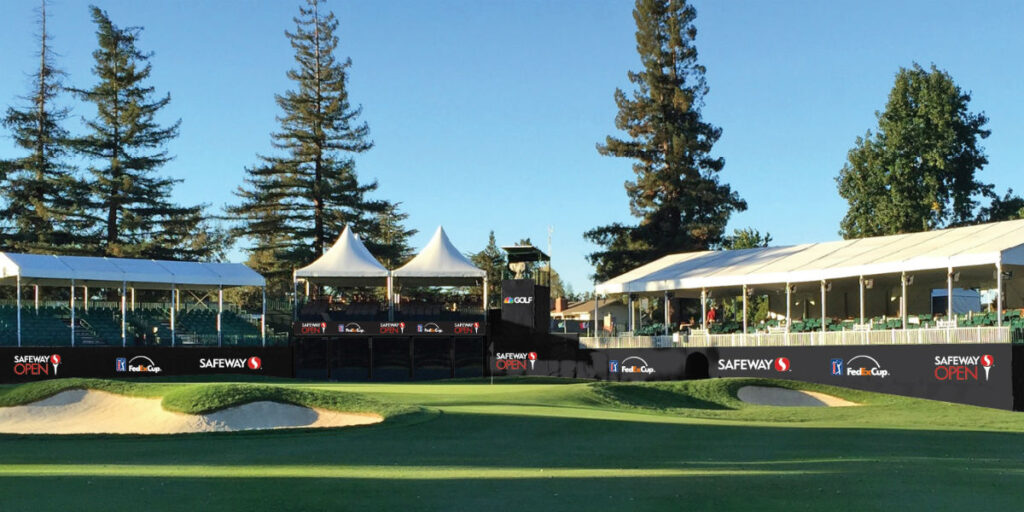 Picture of the Silverado Golf Resort stands for fans at the Safeway Championship