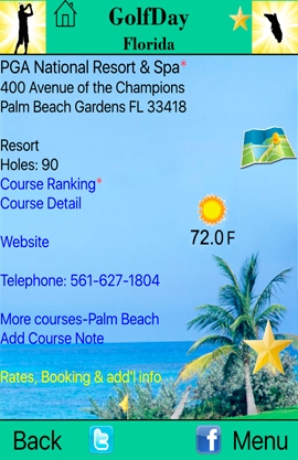 GolfDay Florida PGA National Course Screen