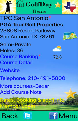 GolfDay Texas Course Detail Screen