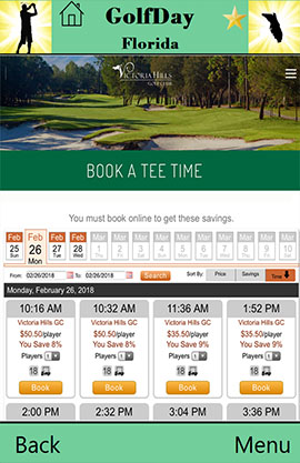 GolfDay Florida Booking Screen