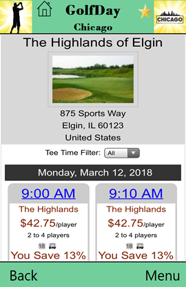 GolfDay Chicago online booking screen