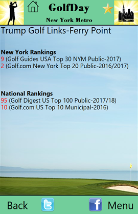 GolfDay_App_Screen New York Metro Course Ranking Page
