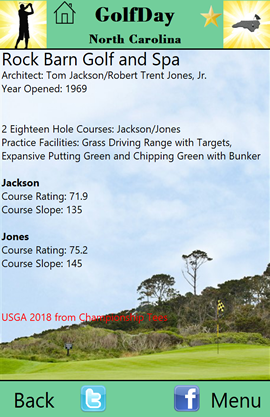 GolfDay North Carolina Course Description Page