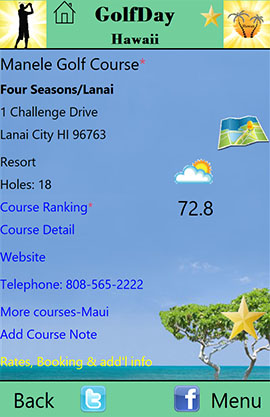 GolfDay Hawaii Course Screen